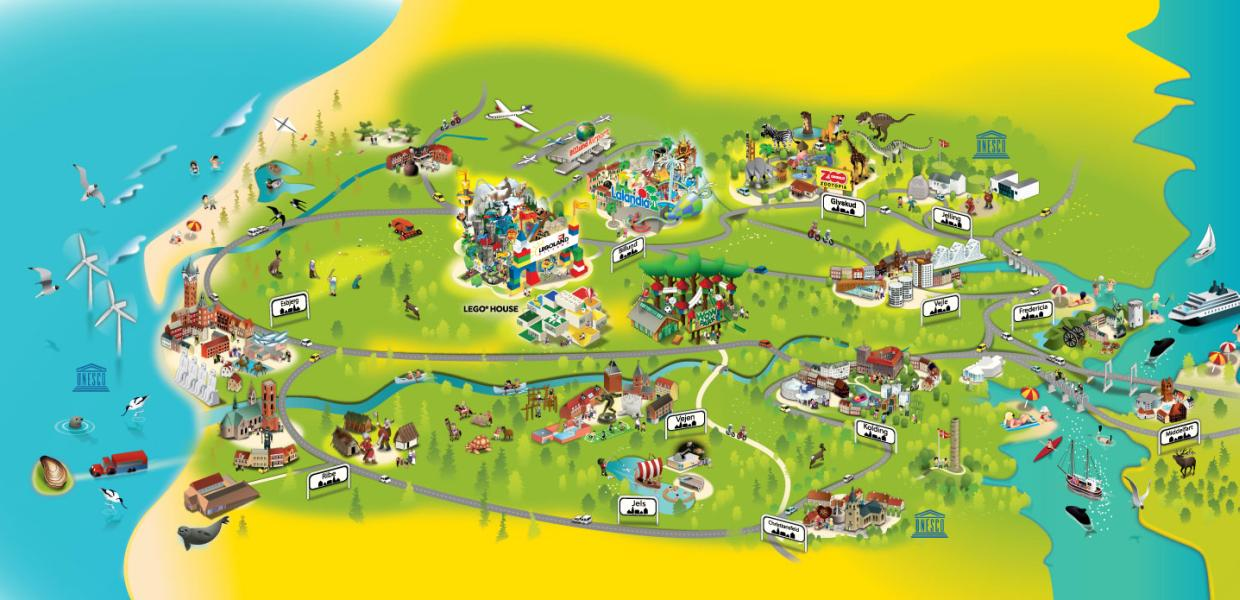 A map of Legoland Billund Resort in Denmark