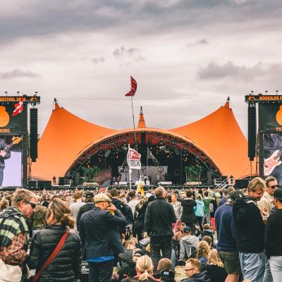 The iconic main stage, Orange Scene, at Roskilde Festival